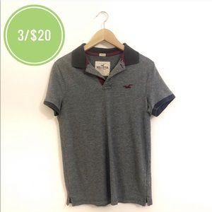3/$20 Hollister Dark Gray Stretch Polo Shirt
